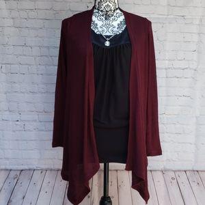 ❤5for25 wet Seal black top & burgundy cardigan